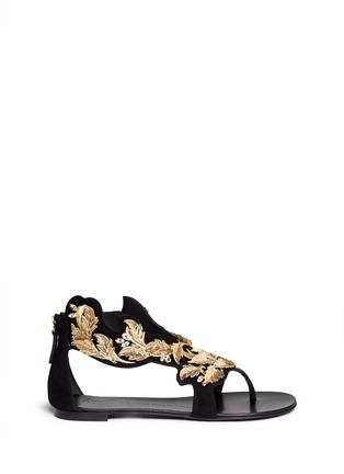 Main View - Click To Enlarge - Giuseppe Zanotti Design - 'Rock' leaf filigree suede sandals