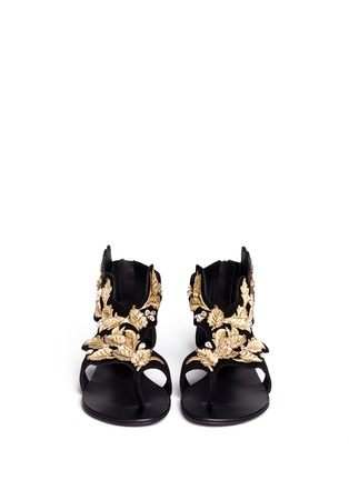 Figure View - Click To Enlarge - Giuseppe Zanotti Design - 'Rock' leaf filigree suede sandals