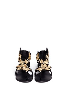 GIUSEPPE ZANOTTI DESIGN 'Rock' leaf filigree suede sandals