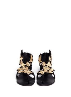 GIUSEPPE ZANOTTI DESIGN'Rock' leaf filigree suede sandals