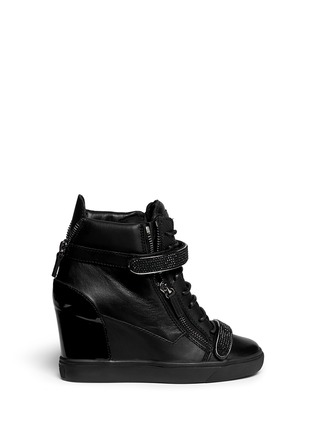 Main View - Click To Enlarge - Giuseppe Zanotti Design - 'Lorenz' nappa leather wedge sneakers