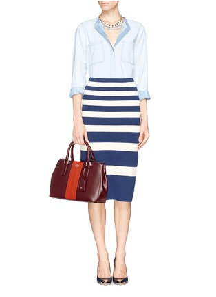 Figure View - Click To Enlarge - Tory Burch - 'Robinson' saffiano mini double zip tote