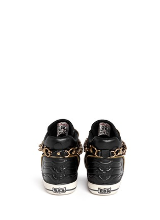 Back View - Click To Enlarge - Ash - 'Velvet' detachable chain high top sneakers
