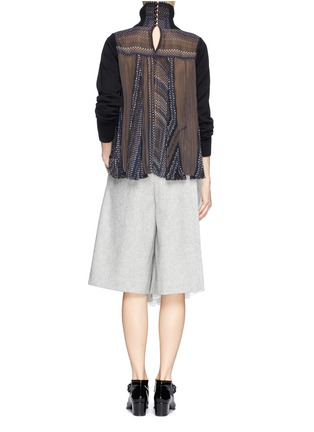 Figure View - Click To Enlarge - Sacai - Plissé pleat chiffon back turtleneck sweater