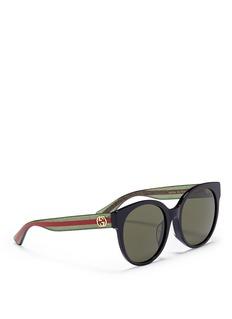 GucciGlitter web stripe temple acetate round sunglasses