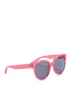 GucciGlitter acetate round sunglasses