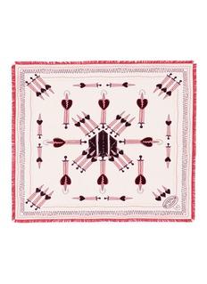 Valentino'Love Blade' print fringed silk scarf