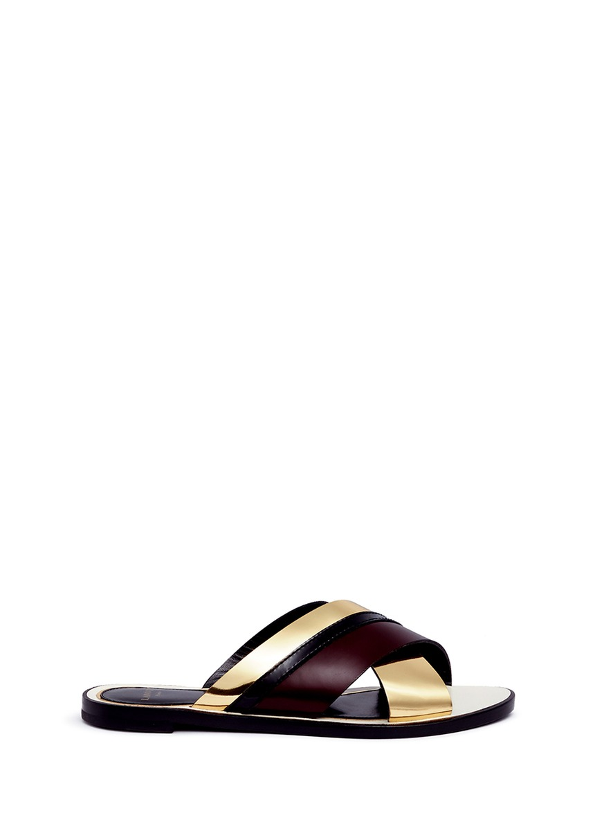 Cross vamp mixed leather slide sandals by Lanvin