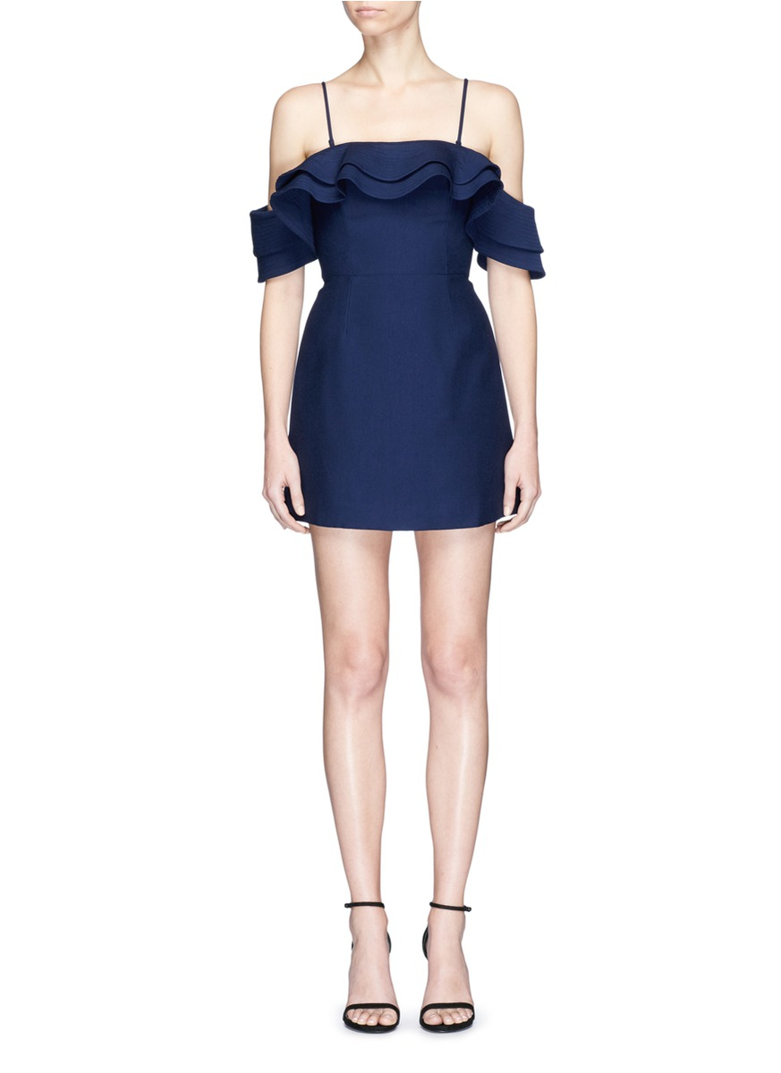 First Impression ruffle off-shoulder dress by C/Meo Collective