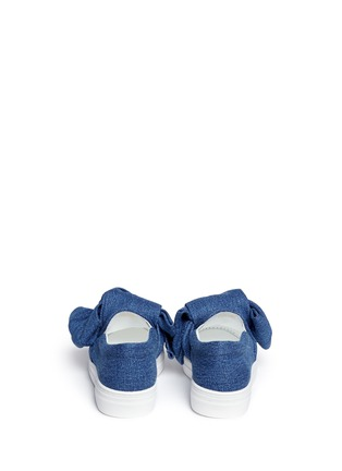 Back View - Click To Enlarge - Joshua Sanders - Twist bow denim kids skate slip-ons
