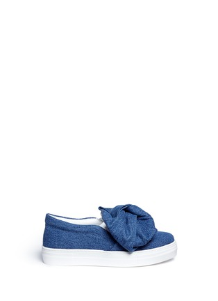 Main View - Click To Enlarge - Joshua Sanders - Twist bow denim kids skate slip-ons