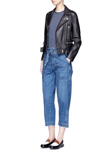 Current/Elliott 'The Chore' belted cropped wide leg denim pants