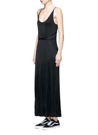 Front View - Click To Enlarge - T By Alexander Wang - Crossover strap jersey maxi dress