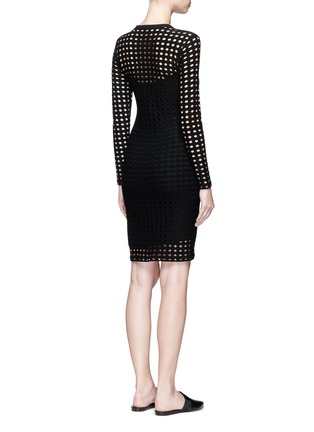Back View - Click To Enlarge - T By Alexander Wang - Circular hole jacquard jersey dress