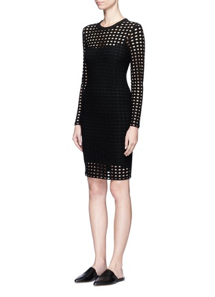 Front View - Click To Enlarge - T By Alexander Wang - Circular hole jacquard jersey dress