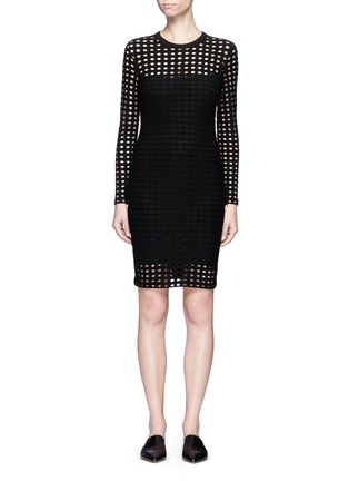 Main View - Click To Enlarge - T By Alexander Wang - Circular hole jacquard jersey dress