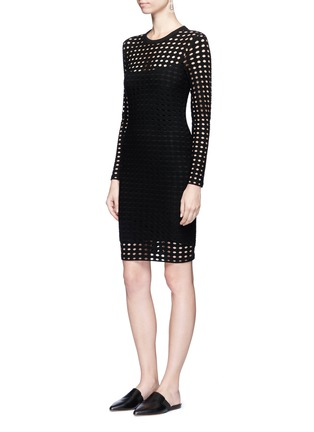 Figure View - Click To Enlarge - T By Alexander Wang - Circular hole jacquard jersey dress