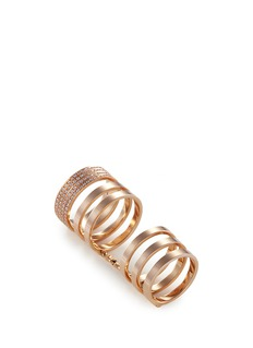 REPOSSI 'Berbère Module' diamond 18k rose gold six row linked ring
