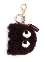 'Ghost' shearling coin pouch
