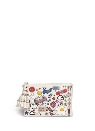 Main View - Click To Enlarge - Anya Hindmarch - 'Stickered-up Georgiana' leather clutch