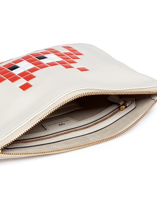 Detail View - Click To Enlarge - Anya Hindmarch - 'Space Invaders Georgiana' embossed leather clutch