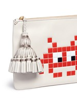 'Space Invaders Georgiana' embossed leather clutch