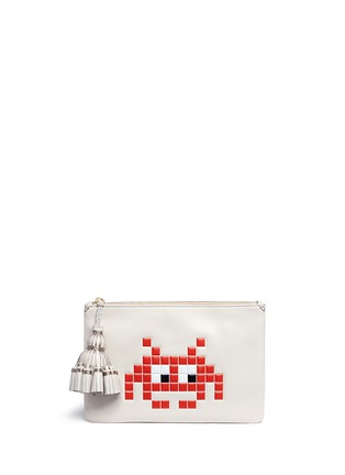 Main View - Click To Enlarge - Anya Hindmarch - 'Space Invaders Georgiana' embossed leather clutch