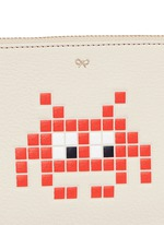 'Small Loose Pocket' character embossed leather zip pouch