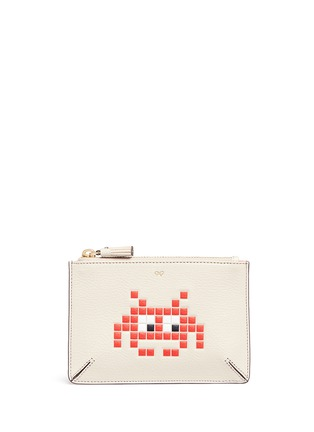 Main View - Click To Enlarge - Anya Hindmarch - 'Small Loose Pocket' character embossed leather zip pouch
