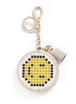 'Pixel Smiley' embossed leather coin pouch