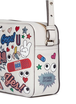 Detail View - Click To Enlarge - Anya Hindmarch - 'All Over Sticker' embossed leather crossbody bag