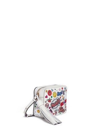 Front View - Click To Enlarge - Anya Hindmarch - 'All Over Sticker' embossed leather crossbody bag