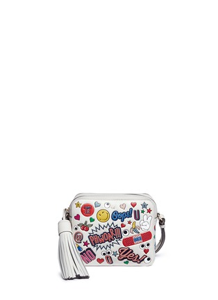 Main View - Click To Enlarge - Anya Hindmarch - 'All Over Sticker' embossed leather crossbody bag