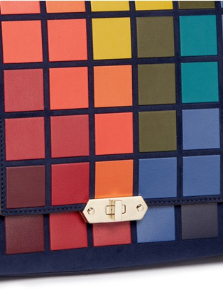 Detail View - Click To Enlarge - Anya Hindmarch - 'Pixels Bathurst' patchwork suede satchel
