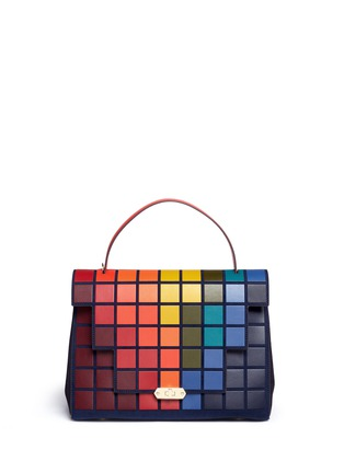 Main View - Click To Enlarge - Anya Hindmarch - 'Pixels Bathurst' patchwork suede satchel