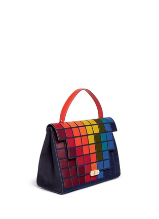 Figure View - Click To Enlarge - Anya Hindmarch - 'Pixels Bathurst' patchwork suede satchel