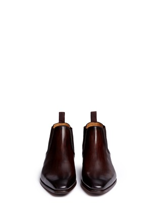 Front View - Click To Enlarge - Magnanni - Brushstroke finish leather Chelsea boots