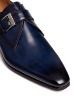 Brushstroke finish leather monk strap shoes