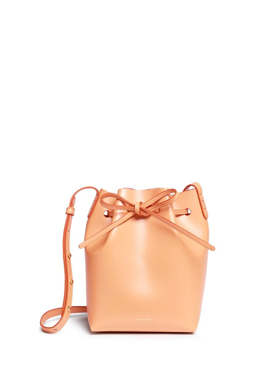 Mini leather bucket bag by Mansur Gavriel