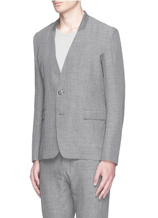 Front View - Click To Enlarge - ATTACHMENT - Collarless wool-linen blazer
