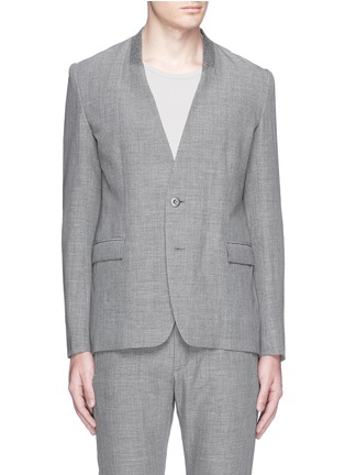 Main View - Click To Enlarge - ATTACHMENT - Collarless wool-linen blazer