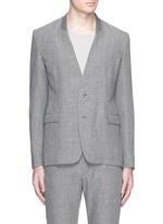Collarless wool-linen blazer