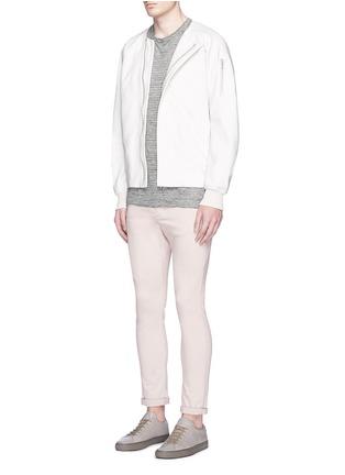 模特儿示范图 - 点击放大 - ATTACHMENT - 不对称开襟混棉MA-1夹克