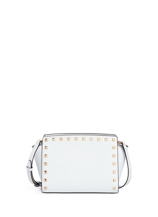 Back View - Click To Enlarge - Michael Kors - 'Selma Stud' medium saffiano leather messenger bag