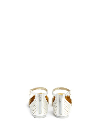 Back View - Click To Enlarge - Stuart Weitzman - 'Audrina Sparkle' logo charm metallic d'Orsay kids flats