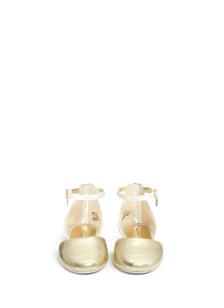 Figure View - Click To Enlarge - Stuart Weitzman - 'Audrina Sparkle' logo charm metallic d'Orsay kids flats