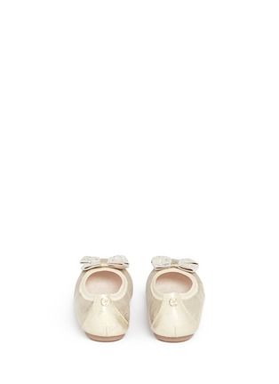 Back View - Click To Enlarge - Stuart Weitzman - 'Fannie Jewel' strass bow kids ballerinas