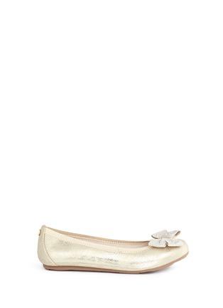 Main View - Click To Enlarge - Stuart Weitzman - 'Fannie Jewel' strass bow kids ballerinas