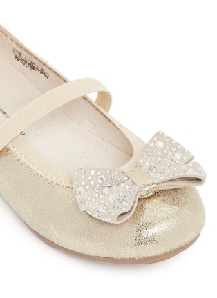 Detail View - Click To Enlarge - Stuart Weitzman - 'Fannie Jewel Strap' strass bow kids ballerinas