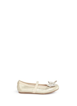Main View - Click To Enlarge - Stuart Weitzman - 'Fannie Jewel Strap' strass bow kids ballerinas